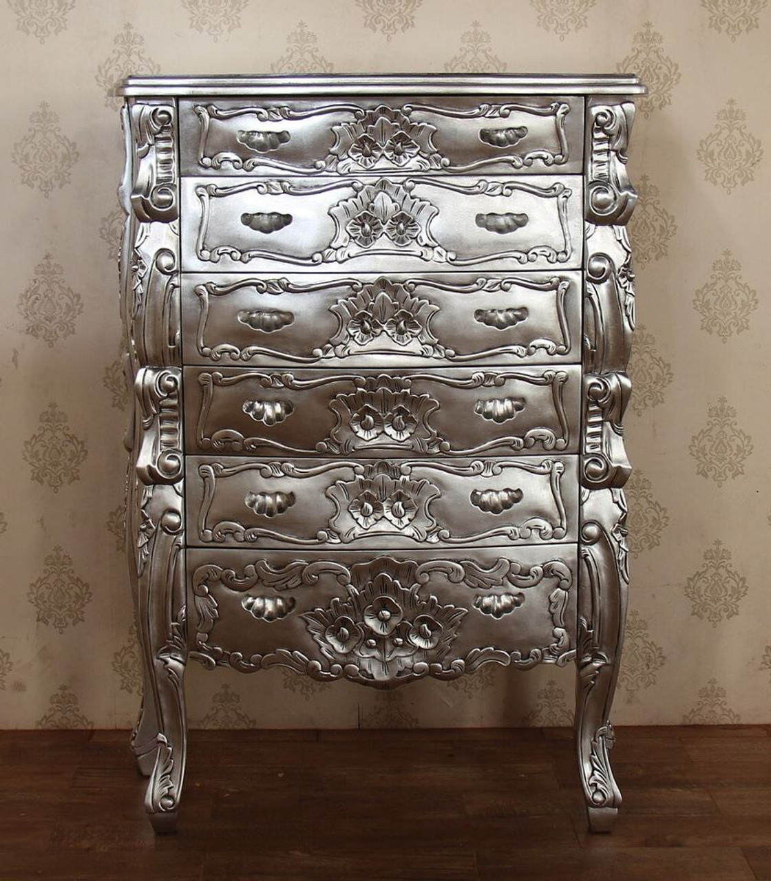 Real Silver Leaf Rococo Tall Boy Chest Of Drawers