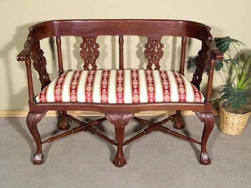 Chippendale Style Carved Mahogany Rolled Arm Bench 30112EC