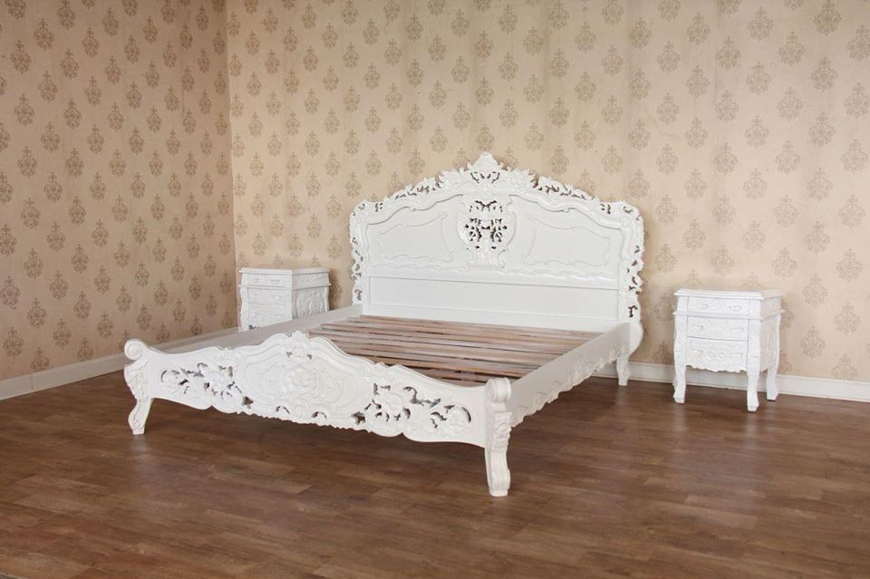 3 Pc White French Rococo E King Bedroom Set E King Bed W 2 Nightstands Mahogany Millworks