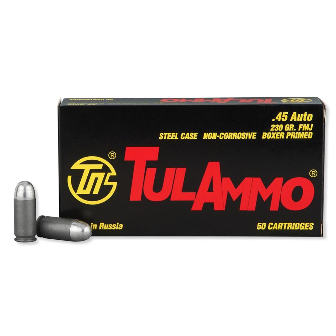 TULAMMO Steel Cased 45 ACP 230 Grain FMJ Ammo, 50 Round Box (TA452300)