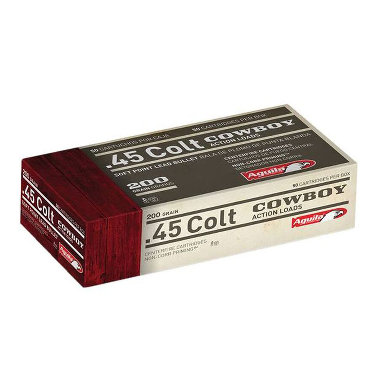 AGUILA Cowboy Action 45 Long Colt 200Gr Lead Soft Point 50rd Box Ammo  (1E454319)