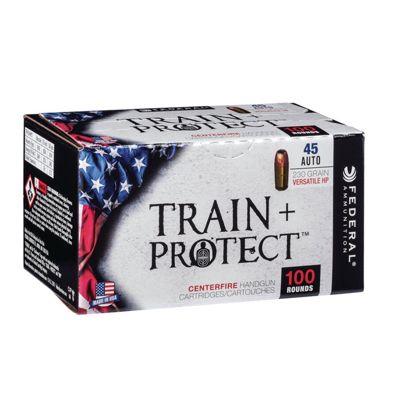 FEDERAL Train + Protect .45 ACP 230Gr JHP 100rd Box Handgun Ammo (TP45VHP2)