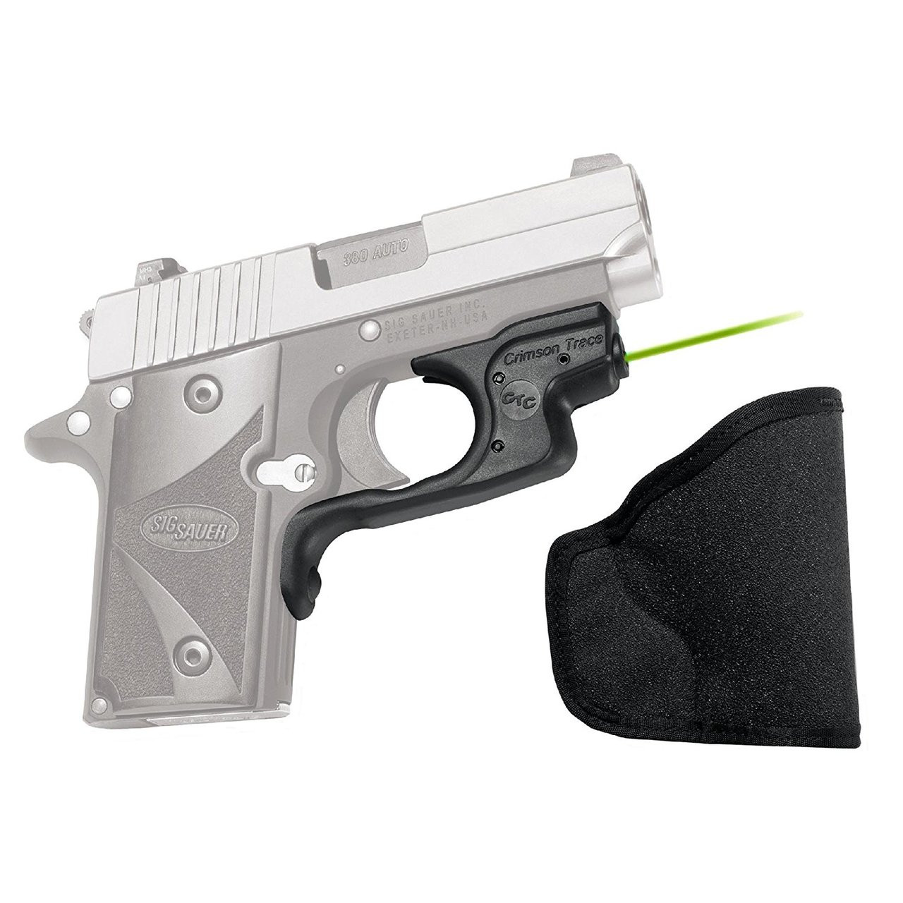CRIMSON TRACE Green Laserguard with Pocket Holster for Sig Sauer P238 and  P938 (LG-492G-H)