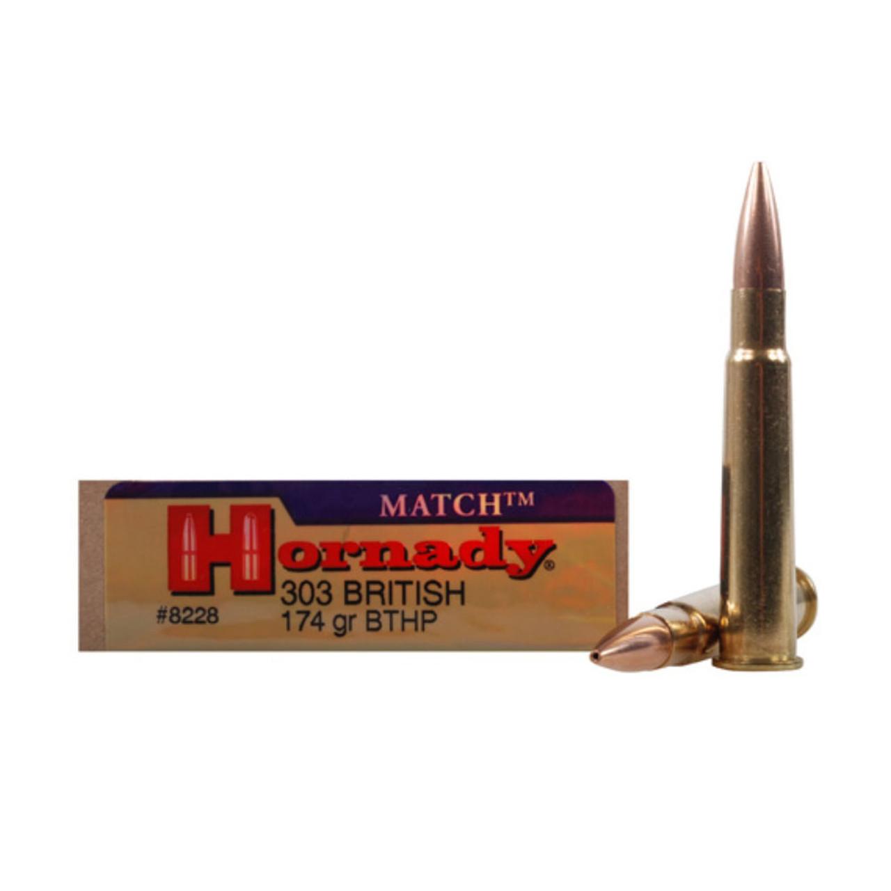 HORNADY Match 303 British 174 Grain BTHP Ammo, 20 Round Box (8228)