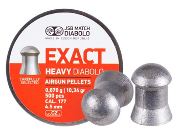 PREDATOR INTERNATIONAL JSB Diabolo Exact Heavy .177 Cal 500ct Pellets (546267-500)