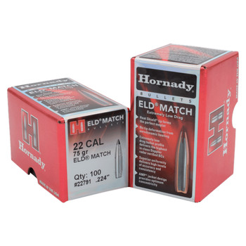 HORNADY 22 Cal .224 75Gr ELD Match 100Rd Box Bullets (22791)