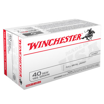 WINCHESTER USA 40SW 165Gr Full Metal Jacket 100/500 Ammo (USA40SWVP)