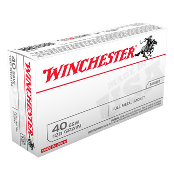 WINCHESTER USA 40SW 180Gr Full Metal Jacket 50/500 Handgun Ammo (Q4238)