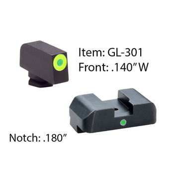 AMERIGLO For Glock Tritium I-Dot 2 Dot Green Front and Rear Sights (GL-301)