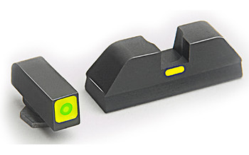 AMERIGLO Glock CAP Green Tritium LumiGreen Square Outline Front and Lime Green Line Rear Sights (GL-615)