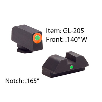 AMERIGLO For Glock Tritium I-Dot Green with Orange Outline Front and Green Rear Sights (GL-205)