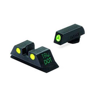 MEPROLIGHT Tru-Dot Glock 20,21,29,30 Tritium Fiber Optic Green,Yellow Front & Rear Iron Sight (ML10222Y)