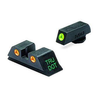 MEPROLIGHT Tru-Dot Glock 9mm,357 SIG,45 GAP,40 S&W Tritium Fiber Optic Green,Orange Front & Rear Iron Sight (ML10224O)