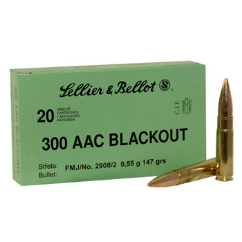 SELLIER & BELLOT 300 Blackout 147 Grain FMJ Ammo 20 Round Box (SB300BLKB)