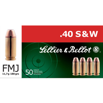 SELLIER & BELLOT 40 S&W 180Gr FMJ Handgun Ammo (SB40B)
