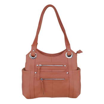 ROMA LEATHERS CCW Concealed Carry Gun Shoulder Light Brown Bag (7008-LBRN)