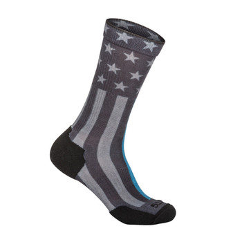 5.11 TACTICAL Sock And Awe Thin Blue Line Black Crew Sock (10041AA-019)