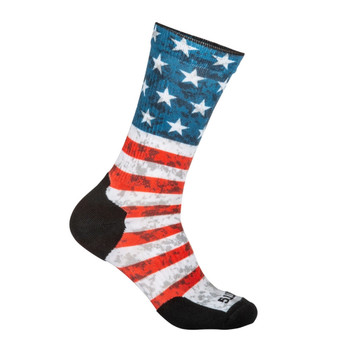 5.11 TACTICAL Sock And Awe American Flag Red Crew Sock (10041AB-460)