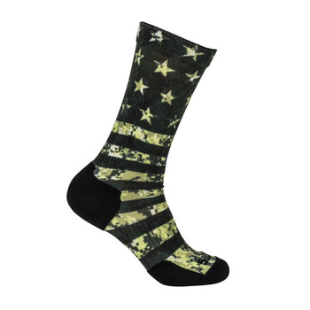 5.11 TACTICAL Sock And Awe American Flag OD Green Crew Sock (10041AM-999)