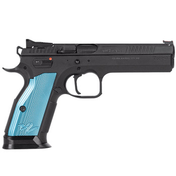 CZ TS 2 9mm 20rd 5.28in Black Polycoat Steel Blue Aluminum Grips Pistol (91220)