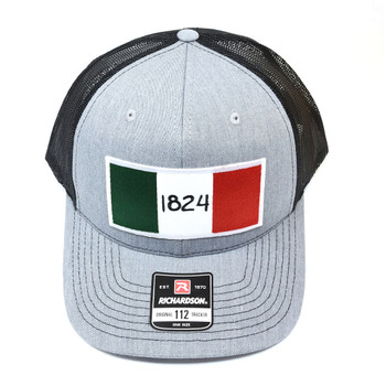 WEBY Richardson 112 Charcoal Grey/Black OSFA Trucker Hat with the Historic 1824 Flag of the Alamo (HAT-112-CHAR/BLK-1824)