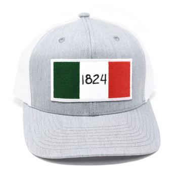 WEBY Richardson 112 Heather Grey/White OSFA Trucker Hat with the Historic 1824 Flag of the Alamo (HAT-112-HG/WHT-1824)