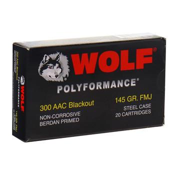 WOLF Polyformance 300 BLK 145Gr FMJ Ammo 300BLKFMJ1