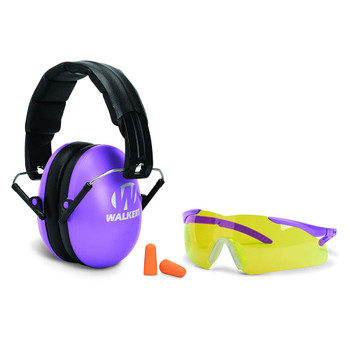 WALKERS GAME EAR Youth and Women's Folding Muff with Glasses and Plug Purple Combo Kit (GWP-YWFM2GFP-PUR)
