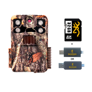 BROWNING TRAIL CAMERAS Recon Force Elite HP4 Trail Camera With 32 GB SD Card And SD Card Reader For iOS (BTC-7E-HP4+32GSB+CR-UNI)