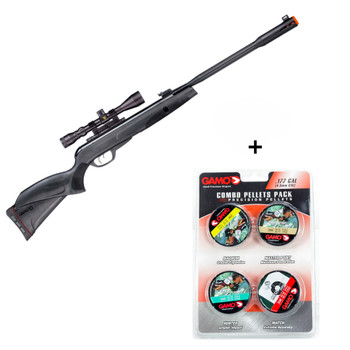 GAMO Whisper Fusion Mach 1 .177 Cal Air Rifle with Combo Pack Assorted Pellets (6110063254+632092954-BUNDLE)