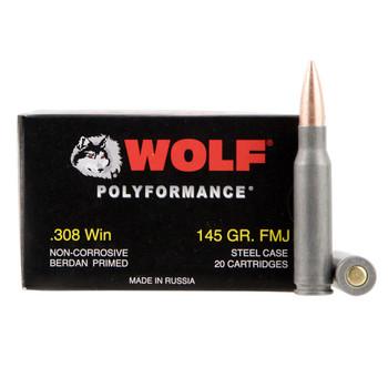 WOLF PolyFormance 308 Win 145 Grain FMJ 20rds Steel Case Rifle Ammo (wolf308)