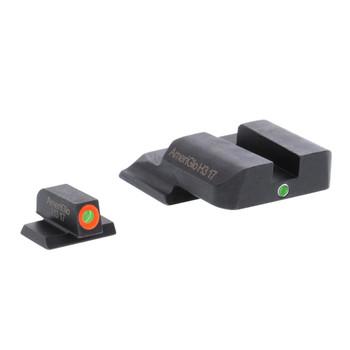 AMERIGLO I-Dot Green Tritium Orange Outline Front/Green Single Dot Rear Night Sight Set (SW-201)