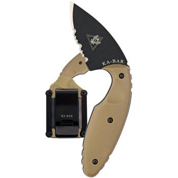 KA-BAR TDI Original Half-Serrated Knife with Coyote Brown Hard Sheath (1477CB)