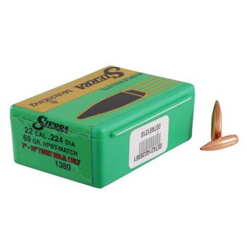 SIERRA MatchKing 22 Caliber 69Gr HPBT 100/Box Rifle Bullets (1380)