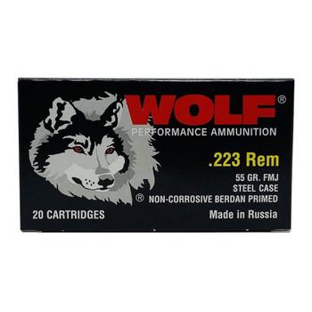 WOLF Performance 223 Rem 55Gr FMJ 20rds Steel Case Ammunition (WFMJ-223-55)
