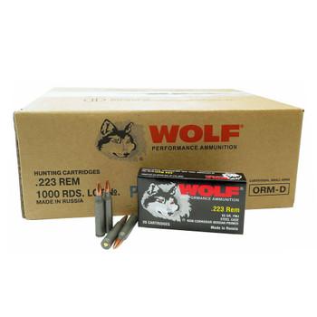 WOLF Performance 223 Rem 55Gr FMJ 1000rds Steel Case Ammunition (WFMJ-223-55-1000RD)