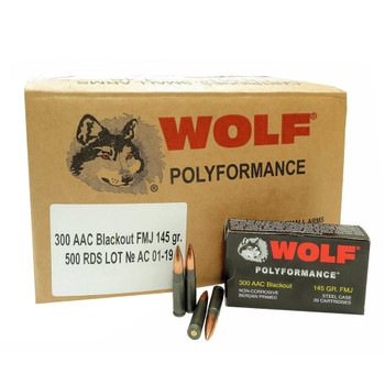 WOLF Polyformance 300 Blackout 145gr FMJ 500rd Steel Case Rifle Ammo (300BLKFMJ1-CASE)