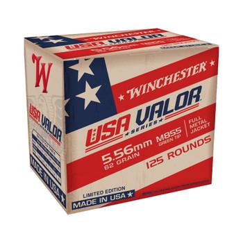 WINCHESTER AMMO USA Valor 5.56mm 62Gr Full Metal Jacket 125 Bx/10 Cs Rifle Ammo (USA855125)