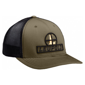 LEUPOLD L Optics Dark Green/White Flat Brim Trucker Hat (170585)