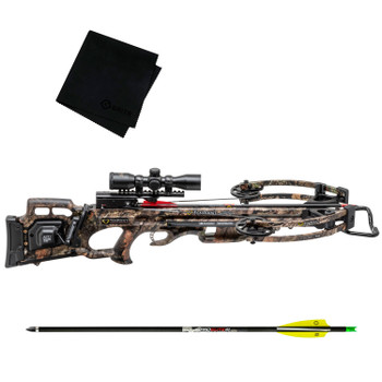 TENPOINT Turbo M1 ACUdraw 50 SLED Pro-View Scope Crossbow Package with Pro Elite 400 6-Pack Carbon Arrow and Cleaning Cloth (CB19020-5527+HEA-660.6+GRITMF)