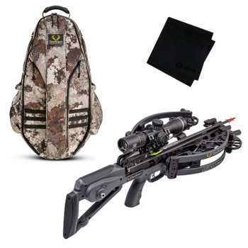 TENPOINT Havoc RS440 Graphite Gray Crossbow Package with Halo Veil Alpine Bowpack and Microfiber Cleaning Cloth (CB21008-1299+HCA-20120+GRITMF)