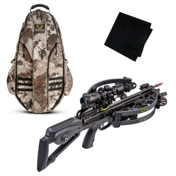 TENPOINT Siege RS410 Graphite Grey Crossbow Package with Halo Veil Alpine Bowpack and Microfiber Cleaning Cloth (CB21012-1819+HCA-20120+GRITMF)