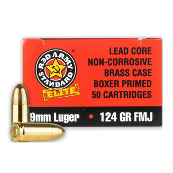 RED ARMY STANDARD Elite 9mm 124Gr FMJ 50rd Box Ammo (AM3295)