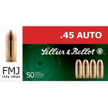 SELLIER & BELLOT 45 ACP 230 Grain FMJ Ammo, 50 Round Box (SB45A)