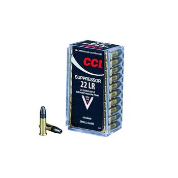 CCI Suppressor 22 LR 45 Grain Hollow Point Ammo, 50 Round Box (957)