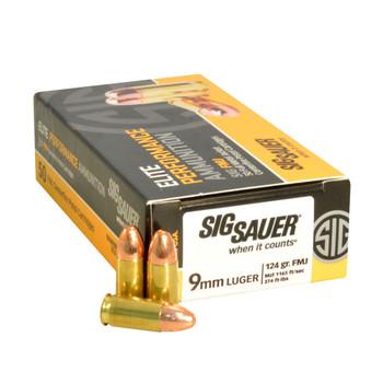 SIG SAUER 9mm 147 Grain FMJ Ammo 50 Box E9MMB3-50