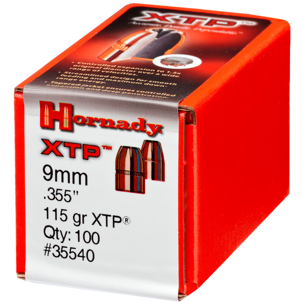HORNADY 9mm 115Gr XTP Hollow Point 100Rd Box Bullets (35540)