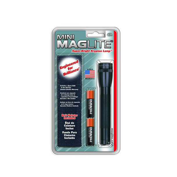 MAGLITE Black Mini Incandescent Flashlight w/ Holster (M2A01H)