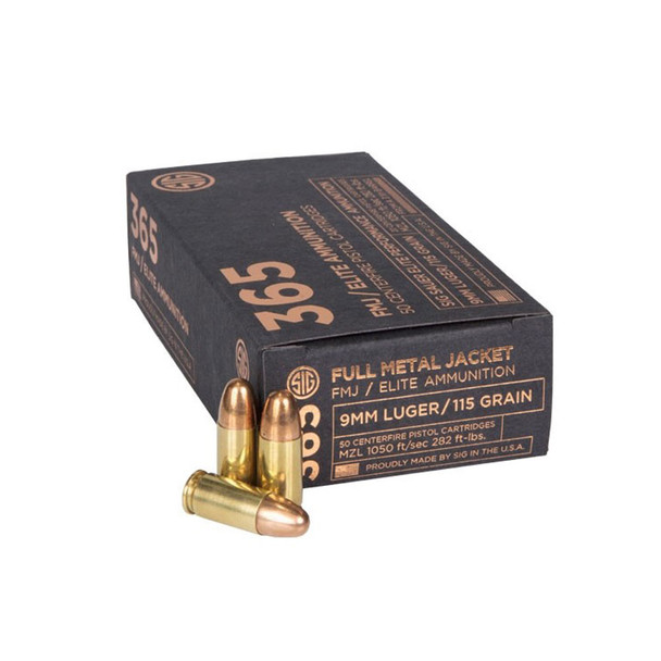SIG SAUER 365 Elite Performance 9mm 115Gr FMJ 50Rd Box Ammo (E9MMB1-365-50-A)