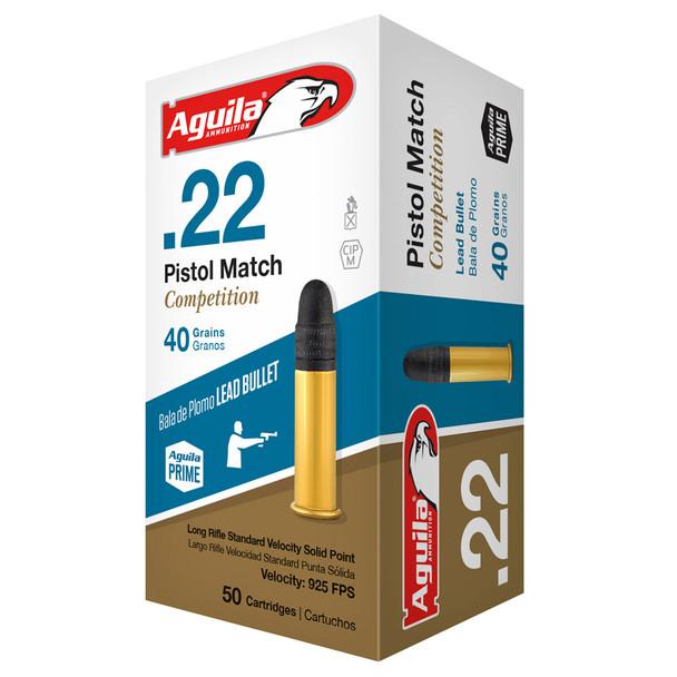 AGUILA .22 Pistol Match Competition 40gr Lead 50rd Box Ammunition (1B222516)